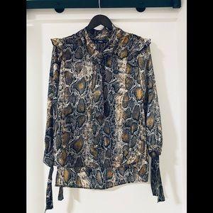 🖤SALE🖤 Zara - python neck tie satin shirt